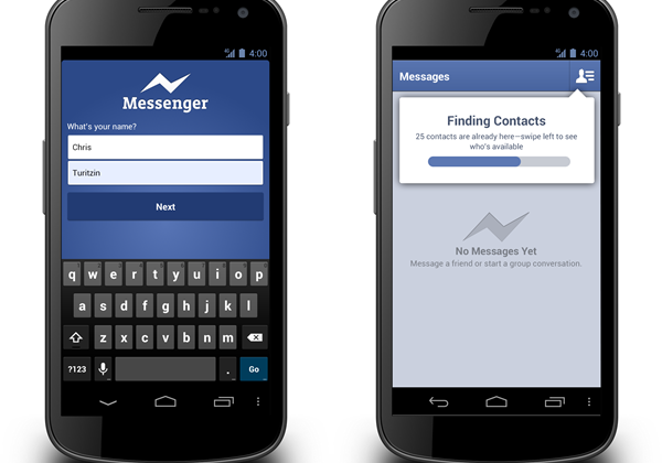 Facebook Messenger for Android pares registration to name & number