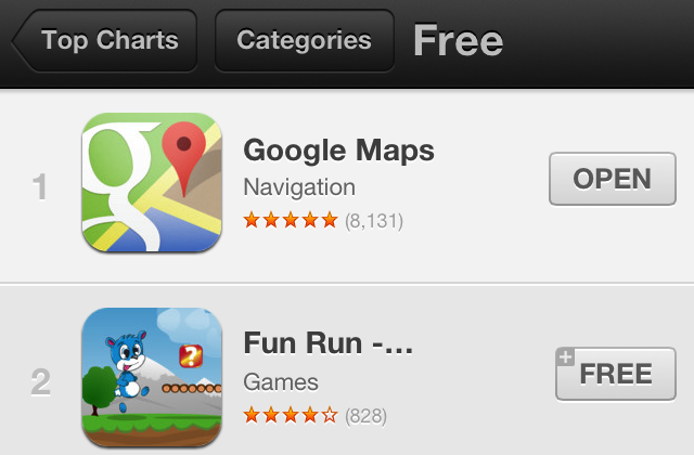 Google Maps for iOS already number 1 in App Store - SlashGear on google map turkey, gasbuddy app, craigslist app, google earth, google docs app, google map art, google app icon, google circles app, google books app, weather app, google world app, evernote app, google texting app, google calendar, google search app, google mapquest, google navigation app, google map from to, traductor google app,