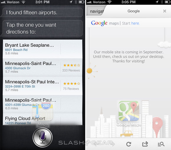 Google Maps vs Apple Maps hands-on to the airport - SlashGear