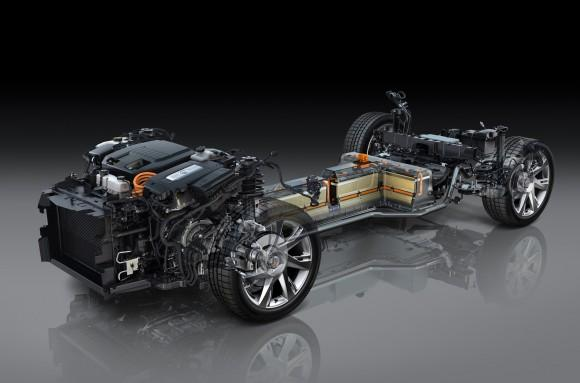 Detailed display of the 2014 Cadillac ELR propulsion system.