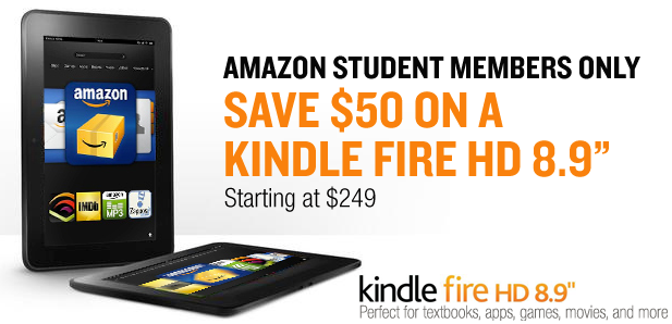 Amazon offering students $50 off a Kindle Fire HD 8.9 all month long