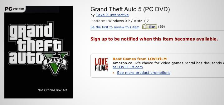 Grand Theft Auto V for PC listed on European Amazon sites