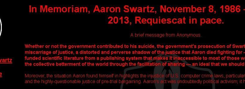 Anonymous hacks MIT with Aaron Swartz memorial & manifesto
