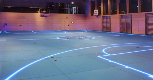 High-tech gym floor has LED lights rather painted stripes