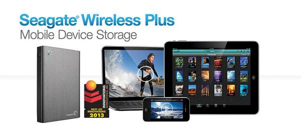 Seagate Wireless Plus Mobile Device Storage keeps your content with you on the go