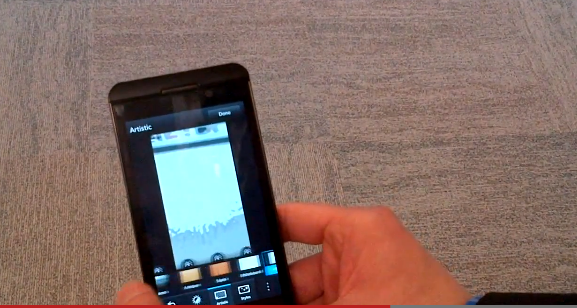 BlackBerry Z10's camera app and photo filters demonstrated in video