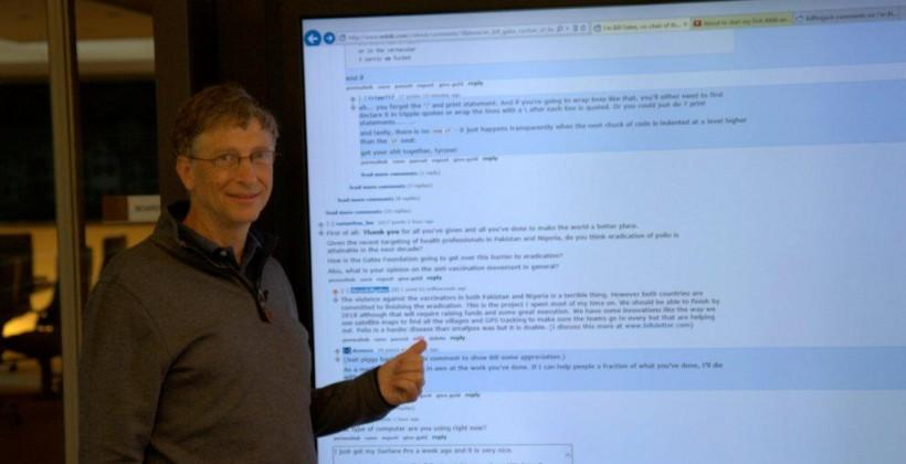Bill Gates shows off his 80-inch Perceptive Pixel display