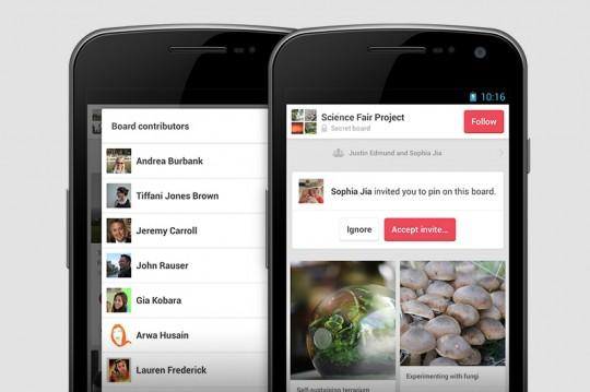 Pinterest updates Android app, improves group boards