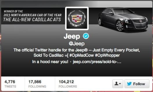 Jeep Twitter account hacked, taken over by Cadillac fanboys