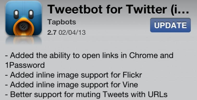 Tweetbot for iOS updates with Chrome, Vine, and Flickr support