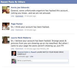 Hackers get a hold of Colin Powell's Facebook page 1