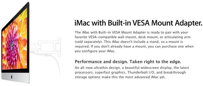 Apple now selling wall-mountable iMacs for $40 extra