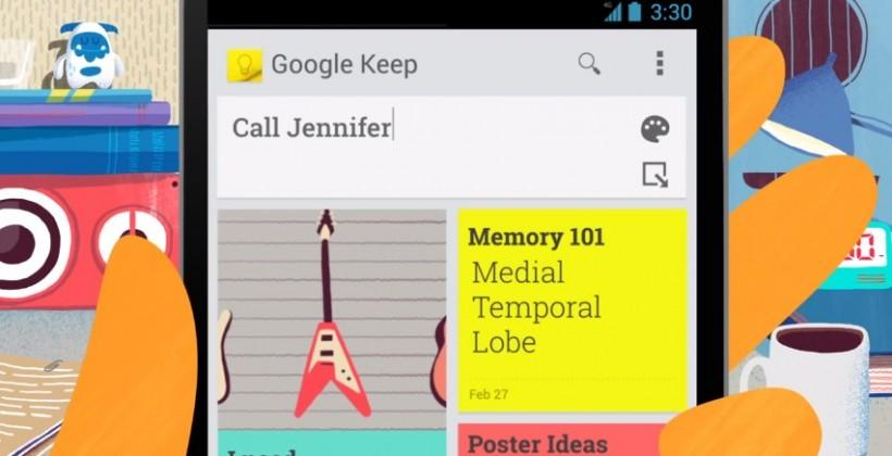 Google Keep official, web and Android apps available now