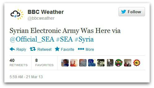 Three BBC Twitter accounts hacked by Syrian Electronic Army