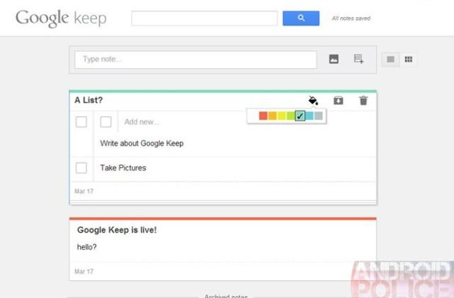 Google Keep prematurely previewed: Look out, Evernote
