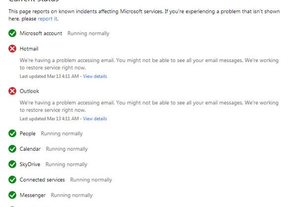 Microsoft Hotmail and Outlook.com outage continues