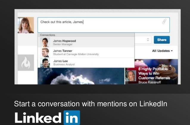 LinkedIn begins rolling out Facebook-like mentions feature