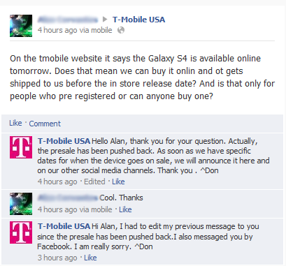T-Mobile GALAXY S 4 online availability delayed due to inventory issues