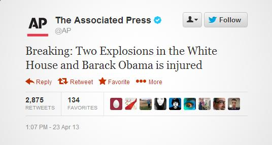 AP Twitter account hacked with fake White House explosion claim