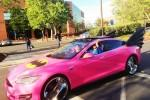 Sergey Brin's Pink-Wrapped Batmobile Tesla rolls through Google HQ