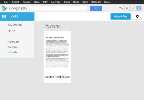 Google Play Books adds ebook uploading feature