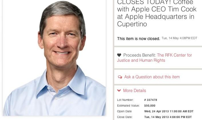 Tim Cook coffee date auction ends at over half a million