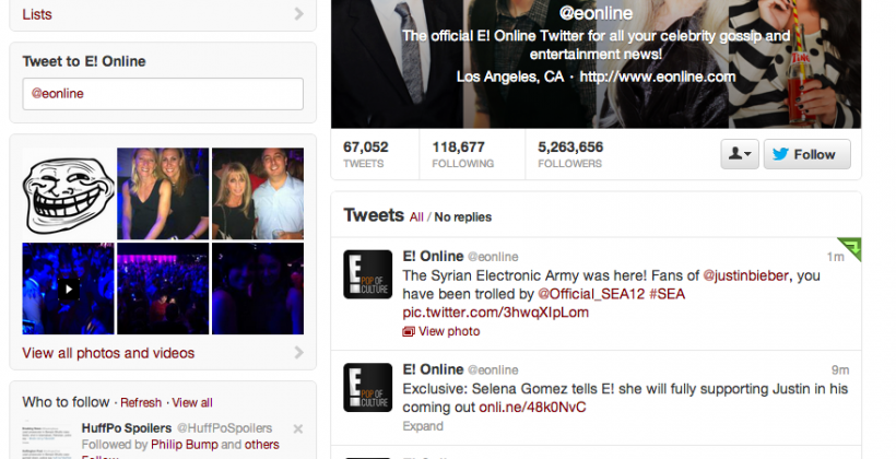 Syrian Electronic Army takes over E! Online's Twitter Account
