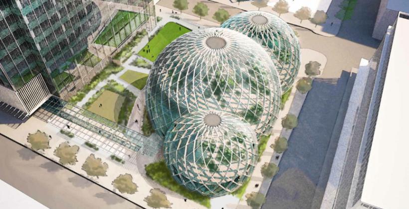Amazon reveals striking biosphere-bubble building plans for Seattle