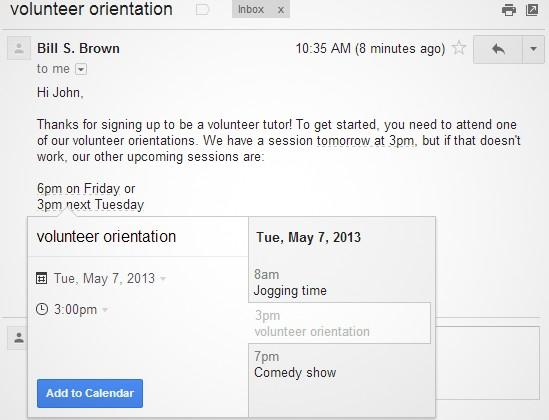Gmail tweak lets users add events straight to Google Calendar