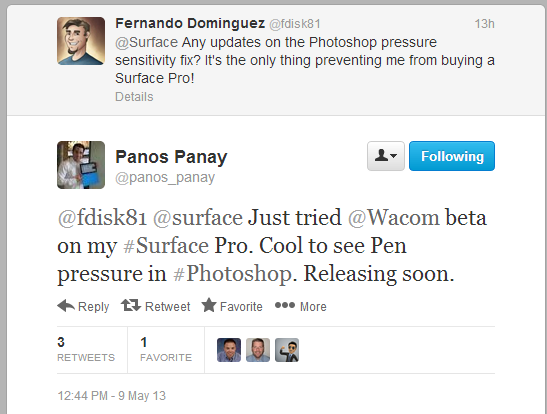 Surface Pro pressure support in Photoshop added with Wacom