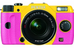 Pentax Q7 compact camera offers interchangeable lenses and 120 color options