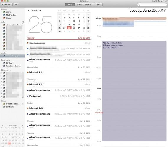 OS Mavericks Calendar