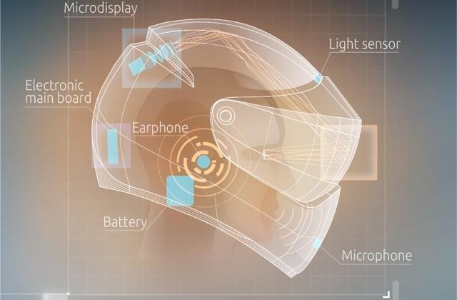 LiveMap Google Glass concept prototyped in motorcycle helmet