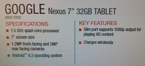 Nexus 7 2 leak reveals Android 4.3, wireless charging