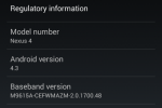 Android 4.3 leaks for Nexus 4
