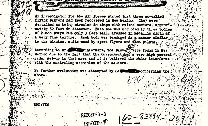 Roswell UFO incident: 66 years and a single FBI document