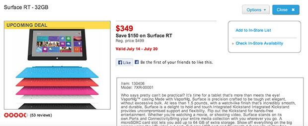 Microsoft Surface RT 32GB discount surfaces at Staples