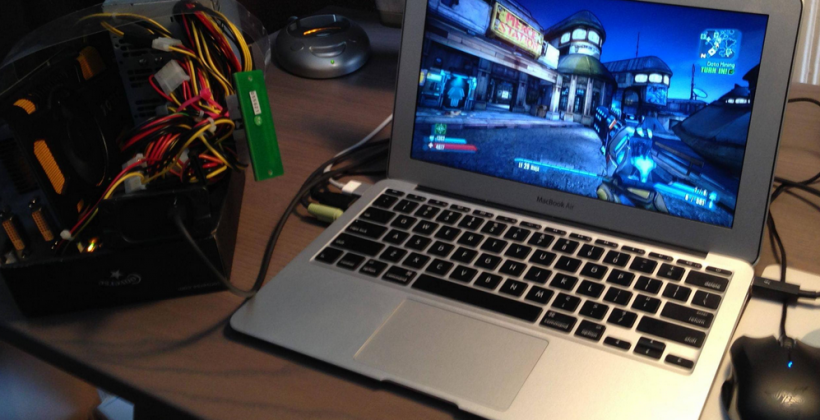 MacBook Air rigged with NVIDIA GeForce GPU for Thunderbolt super-build