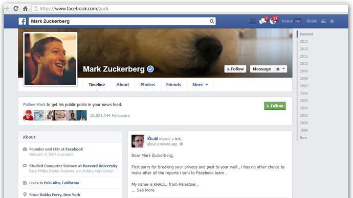 Zuckerberg's Facebook wall gets bug report from hacker