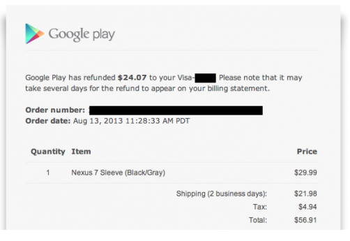 Nexus 7 sleeve shipping refunds surfacing amidst lower Play Store pricing structure