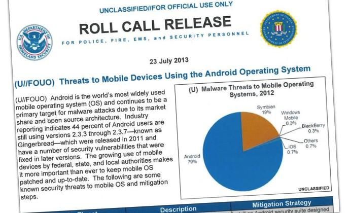 Public Intelligence releases Android threat warning from Homeland Security and the FBI