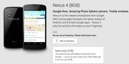 LG Nexus 4 8GB now sold out on Google Play following price drop