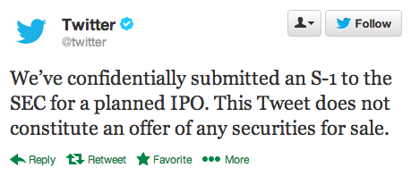 Twitter IPO official: submitted to SEC