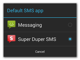 Android 4.4 KitKat will allow users to select default SMS app