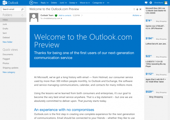Inactive Outlook.com e-mail addresses are recycled