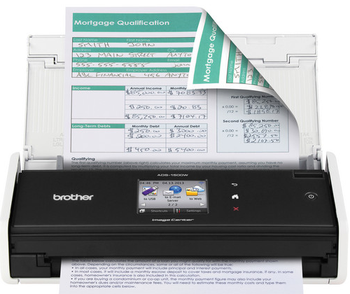 Brother ADS-1500w wireless scanner uploads straight to Google Drive, Facebook, and more