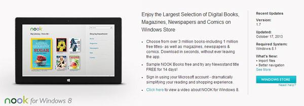Updated Nook for Windows 8.1 app launches