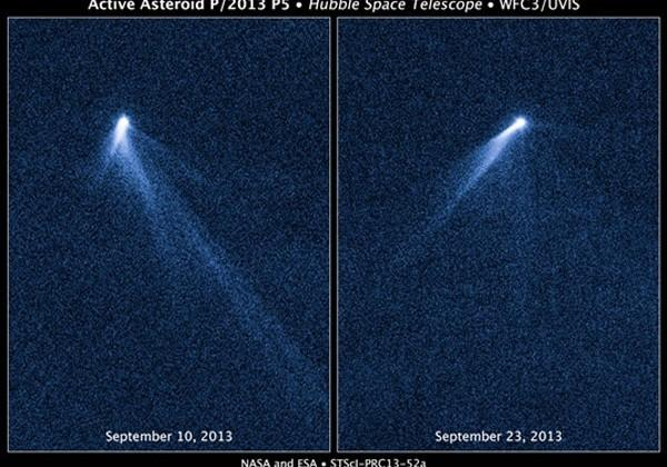 Asteroid P/2013 P5 spied by Hubble throwing six streams of material into space