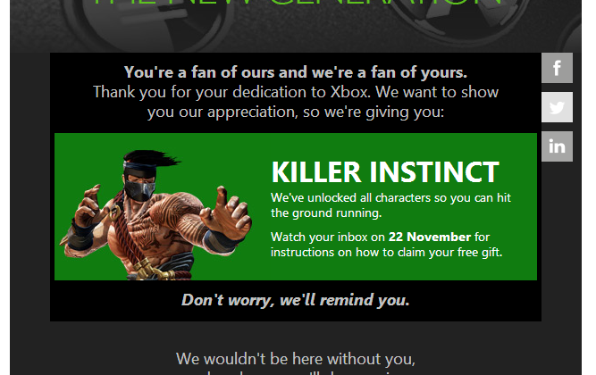 Microsoft bestows Killer Instinct upon early Xbox One adopters