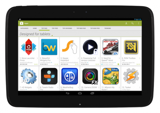 """Google Play Store's """"Designed for tablets"""" rolling out as default"""